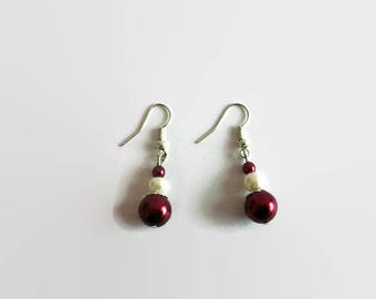 Ivory and Burgundy Pearl Earrings