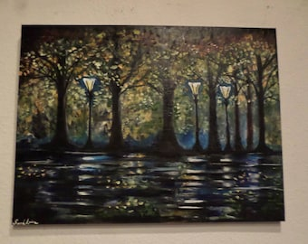 Nigth Fall Leaves Painting , Oil on canvas. 24x18 inches.