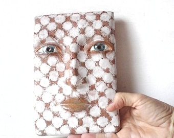 Pottery wall art sculpture head, white modern art tile, contemporary art