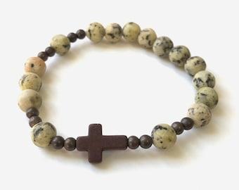 Kiwi Jade Rosary Bracelet