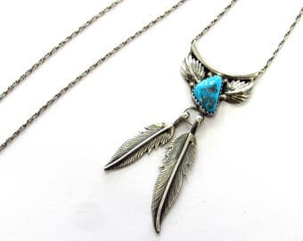 """Vintage Southwestern Native American Genuine Turquoise Feather Pendant on 19"""" Chain, signed BF"""