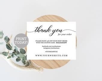 High Quality Business Thank You Card Template, Etsy Seller Thank You Card Printable,  Small Business CardsPackaging Within Business Thank You Card Template