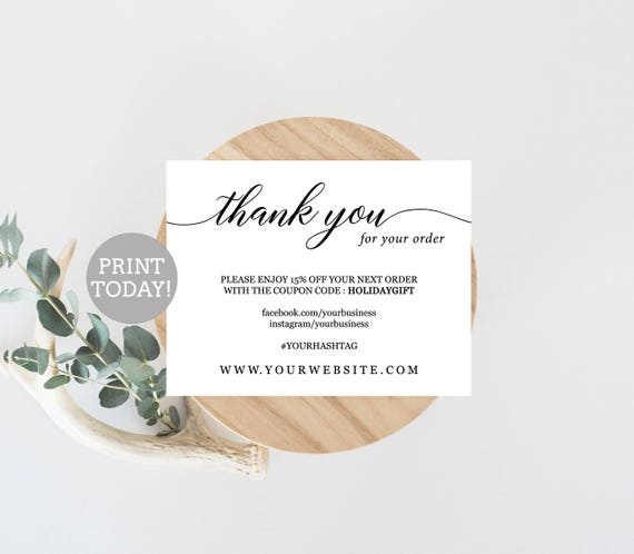 Business Thank You Card Template Etsy Seller Thank You Card - Business thank you card template