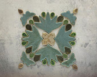 Handmade Decorative Ceramic Mosaic Element for Kitchen Backsplash, Bathroom Wall and Tabletop. Art Tile for Interior Design, Home Decoration