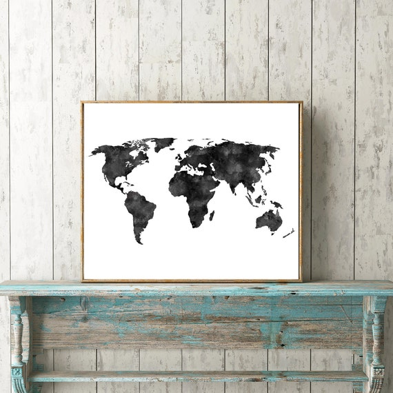 Black distressedwatercolored world map instant download black distressedwatercolored world map instant download rustic minimalist scandinavian black and white wanderlust travel print gumiabroncs Gallery