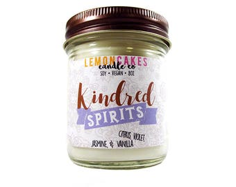 Kindred Spirits - Bookish Candle - Book Lover Gift - 8oz Soy Wax Candle - LemonCakes Candle Co - Citrus, Violet, Jasmine, & Vanilla