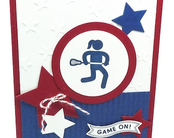 107-Lacrosse Female Happy Birthday Card, Way to Go, Champ! Card, Girl, Woman, Athlete, Red, White & Blue Stars, Team, Play, Players, Field