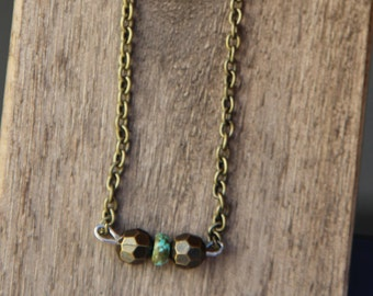Antique Brass Necklace / Turquoise Bead / Layer Necklace / Boho Jewelry / Simple Necklace /