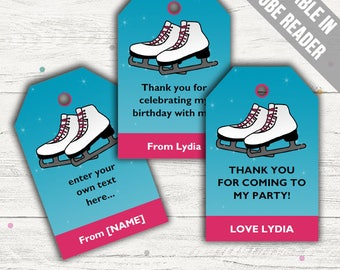 Ice Skating Favor Tags (Ice Skating Thank You Tags). Printable PDF (EDITABLE). Instant Download.