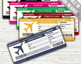 Surprise Trip Boarding Pass (Printable Surprise Trip Ticket). Six Colors. Editable. Instant Download.