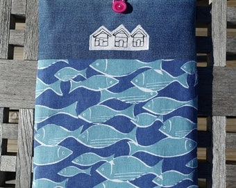 iPad case, Tablet sleeve, beach hut, denim and fish fabric, iPad protective pouch, padded iPad cover, pouch for notebooks/sketchbooks/etc
