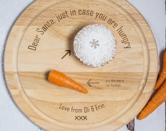 Personalised Santa And Rudolph Plate - Father Christmas Plate - Christmas Eve Plate - Rudolph - Carrot and Mince Pie Plate - Christmas Eve