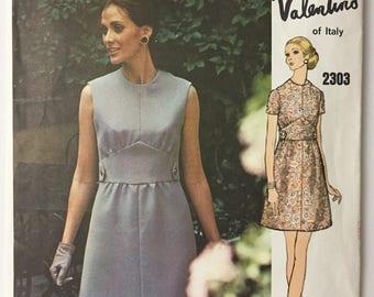Original 70s Vogue Couturier Design 2303 Valentino Mod A-Line Dress Sewing Pattern Size 12