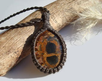 Septarian Pendant Necklace/Nurture/Transformation/Fossil/Macrame Jewelry/Septarian Pendant/Gaia/Ancient Stone/Septarian Jewelry