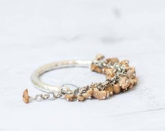 Picture jasper bracelet, Yellow bohemian bracelet, Boho jewelry, Chunky bracelet with stones, Landscape jasper bangle