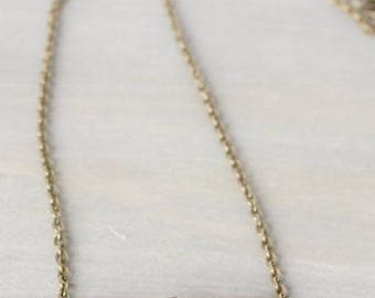 Sunstone Bronze Dainty Necklace - Simple, Delicate, Minimal, Pink, Coral