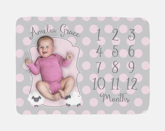 Baby Milestone Blanket | Personalized Pink Little Lamb Baby Month Blanket | Baby Girl Fleece or Minky Blanket