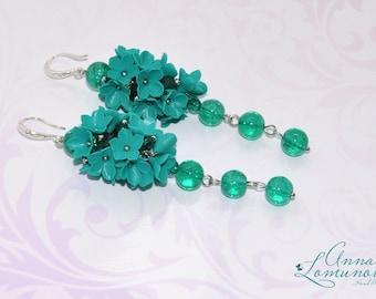 Emerald long earrings Floral long earrings Emerald green earrings Emerald flower earrings Emerald Girlfriend gift Statement Emerald earrings