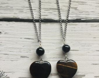 Tigers eye necklace, black tourmaline necklace