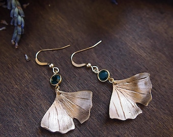 "Earrings Leaf ""Ginkgo"" / Bronze clay & Gold Filled / Swarovski crystal / Art Clay / Metal Clay / Nature chic"