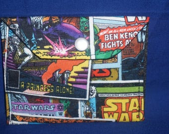 Star Wars Comic Strip Cotton Pearl Snap Button Wallet Coin Purse ID Holder