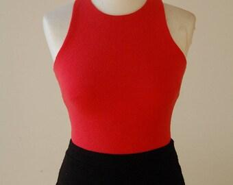 90s crop Top/ rot/ open edge/ jersey crep/ vintage/ 90er/ Bauchfrei/ shirt/ Body