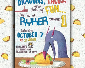 Dragons Love Tacos Invitation