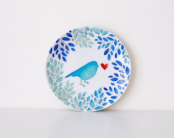 Decorative plate Love bird, 19 cm. Hand painted plate for hanging. Wall plate. Ceramic plate. Gift for Valentine's Day Gift for any occasion
