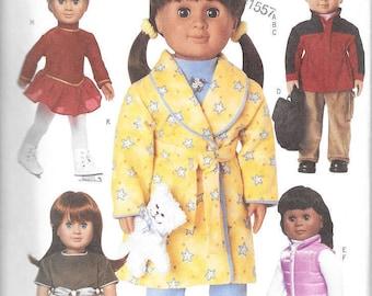 Butterick 3329 - 18 inch doll clothes pattern - Jacket, Skating Dress, PJ's, Backpack etc. - NIP - Uncut
