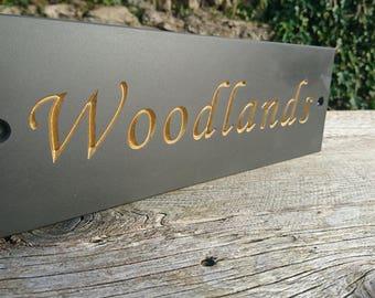 Welsh slate deep V carved house sign
