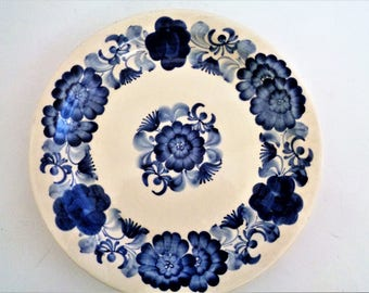 Polish vintage ceramic plate, Decorative plate, floral hand painted pottery, Blue White Plate, Polish Ceramics, cake plate