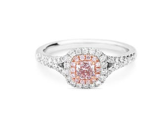 Pink Diamond Double Halo 18K Gold Engagement Ring/ Pave Natural Diamond Half Eternity Ring/ Custom Gold Jewelry Gift for Her