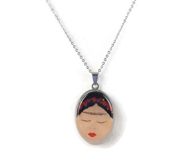 Frida Kahlo closeup illustration pendant necklace