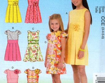 FREE US SHIP Sewing Pattern McCalls 7078 Uncut Girls  6 Looks High Waist Inset Dress Inverted Pleat Size 3 4 5 6 Uncut New Out of Print