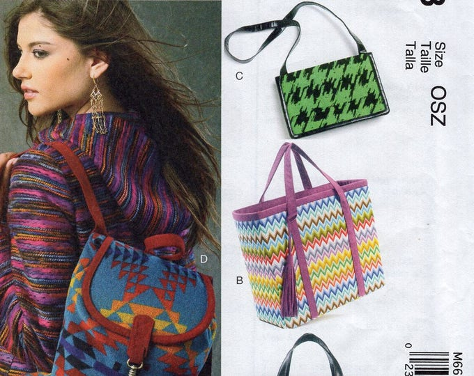 Free Us Ship Sewing Pattern McCall's 6663 Fashion Accessories BackPack Handbag Bag Purse Tote Unused 2012 FF