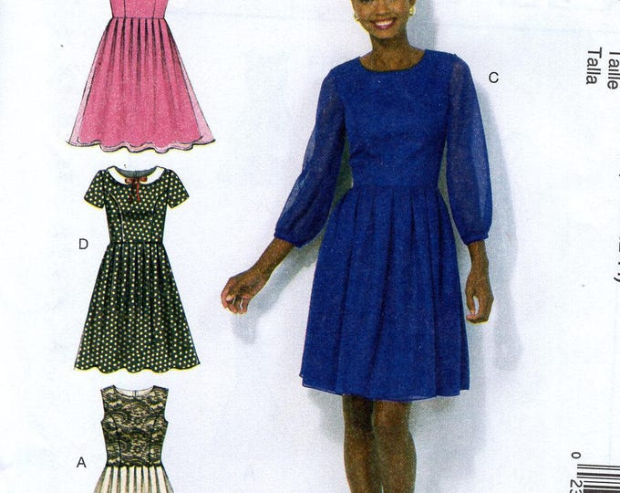 FREE US SHIP McCall's 7083  High Waist Dress Collar Variations  New Uncut Sewing Pattern Size 6 8 10 12 14 Bust 30 32 34 36