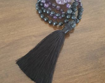 Amethyst mala, onyx and lava 108 beads, gemstones, yoga, meditation stone