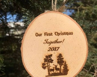 First Christmas Together Ornament, Wood Slice Ornament,  First Christmas As Mr and Mrs Ornament, Wood Ornament, Wood Slice Ornament, Couple