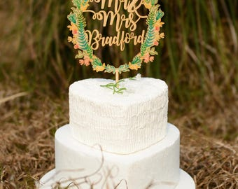 Customized Wedding Cake Topper, Personalized Wedding Cake Topper Made of Wood and Printed with Colorful Floral Wreath, Last Name Cake Topper