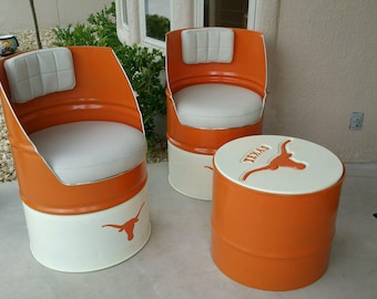 oil barrel chairs and ottoman custom patio furniture texas longhorn decor texas