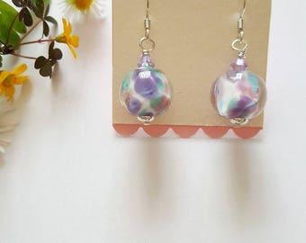 Encased Colour Blend Earrings - Silver Earrings - Gifts for Her - Lampwork Glass - Frit Beads - Earrings -Swarovski Crystals-Marble Earrings