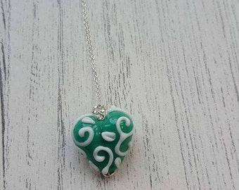 Heart Pendant - Lampwork Necklace - Jewelry - Delicate - Sterling Silver Necklace - Gifts for Her - Stocking Filler - UK - Christmas