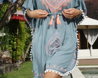 Pompons Short Dress/Embroidery Caftan/Summer pompom poncho/Short dress/Embroidery dress * MERIDA Kaftan PONCHO