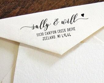 Return Address Stamp, Modern Calligraphy stamp,Personalized SELF INKING Wedding Stationery Stamper, Self-Inking Personalised Stamp