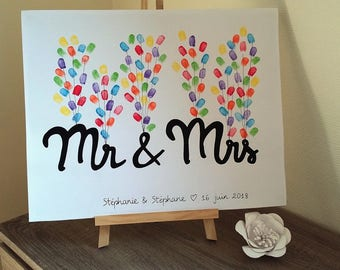 "fingerprint tree ""Mr & Mrs"" with 1 ink 6 colors offered. """""