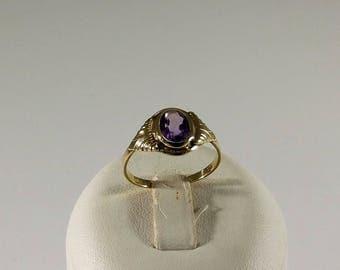 Ring Gold 333 Amethyst Nostalgia Vintage Stainless GR375