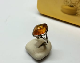 18 mm Nostalgic ring silver 925 amber vintage SR1077
