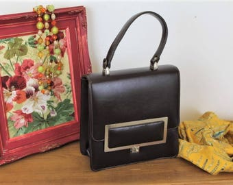 Vintage Leather Handbag/Brown Handbag/1960'S Quality Handbag (Ref1960F)