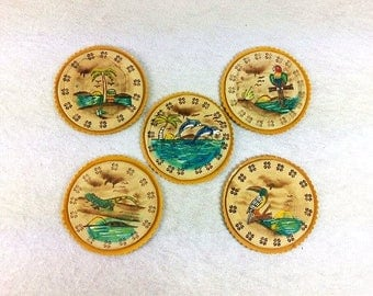 5 Hand Painted Decorative Vintage Coasters Leather Look Coasters Vintage Coaster Set