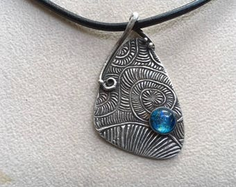 PMC silver pendant with dicrotic glass.